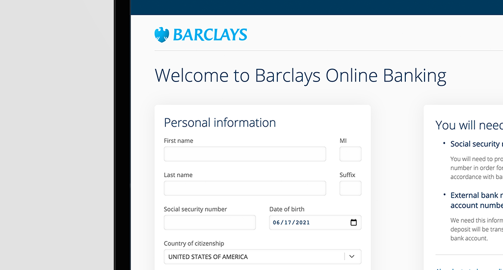 Barclays Account Opening Mock-Up